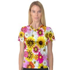 Flowers Blossom Bloom Nature Plant Women s V Neck Sport Mesh Tee