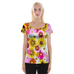 Flowers Blossom Bloom Nature Plant Women s Cap Sleeve Top