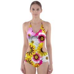 Flowers Blossom Bloom Nature Plant Cut Out One Piece Swimsuit