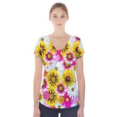 Flowers Blossom Bloom Nature Plant Short Sleeve Front Detail Top