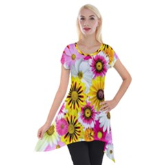 Flowers Blossom Bloom Nature Plant Short Sleeve Side Drop Tunic