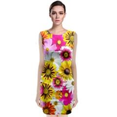 Flowers Blossom Bloom Nature Plant Sleeveless Velvet Midi Dress