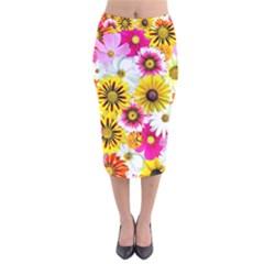 Flowers Blossom Bloom Nature Plant Velvet Midi Pencil Skirt