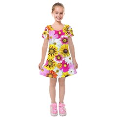 Flowers Blossom Bloom Nature Plant Kids  Short Sleeve Velvet Dress