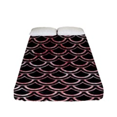 Scales2 Black Marble & Red & White Marble Fitted Sheet (full/ Double Size)