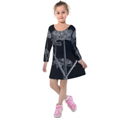 Dog Tube White Night Dark Ice Kids  Long Sleeve Velvet Dress