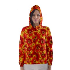 Gerbera Flowers Blossom Bloom Hooded Wind Breaker (women)