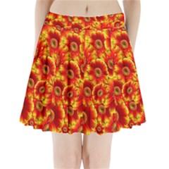 Gerbera Flowers Blossom Bloom Pleated Mini Skirt