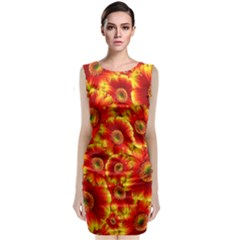 Gerbera Flowers Blossom Bloom Sleeveless Velvet Midi Dress