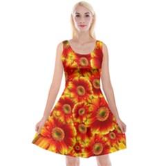 Gerbera Flowers Blossom Bloom Reversible Velvet Sleeveless Dress