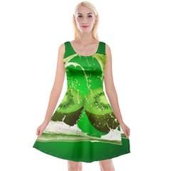 Kiwi Fruit Vitamins Healthy Cut Reversible Velvet Sleeveless Dress