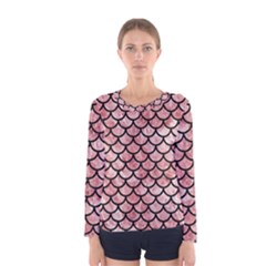 Scales1 Black Marble & Red & White Marble (r) Women s Long Sleeve Tee