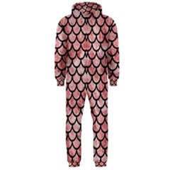 Scales1 Black Marble & Red & White Marble (r) Hooded Jumpsuit (men)