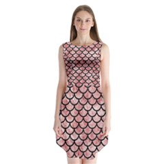 Scales1 Black Marble & Red & White Marble (r) Sleeveless Chiffon Dress