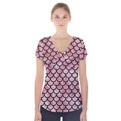 Scales1 Black Marble & Red & White Marble (r) Short Sleeve Front Detail Top