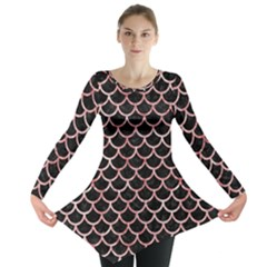Scales1 Black Marble & Red & White Marble Long Sleeve Tunic