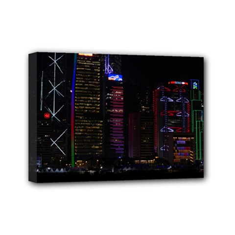 Hong Kong China Asia Skyscraper Mini Canvas 7  X 5