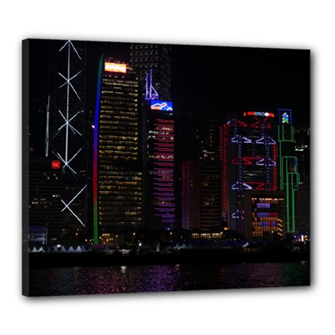 Hong Kong China Asia Skyscraper Canvas 24  X 20