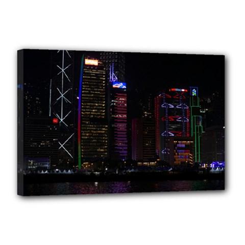 Hong Kong China Asia Skyscraper Canvas 18  X 12