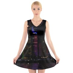 Hong Kong China Asia Skyscraper V Neck Sleeveless Skater Dress