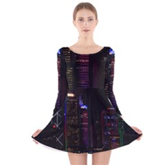 Hong Kong China Asia Skyscraper Long Sleeve Velvet Skater Dress