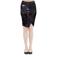 Hong Kong China Asia Skyscraper Midi Wrap Pencil Skirt