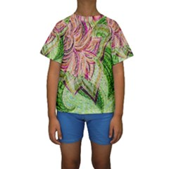 Colorful Design Acrylic Kids  Short Sleeve Swimwear