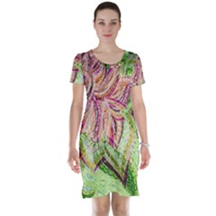 Colorful Design Acrylic Short Sleeve Nightdress