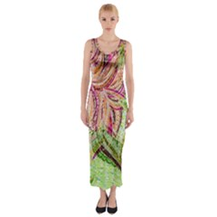 Colorful Design Acrylic Fitted Maxi Dress