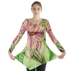 Colorful Design Acrylic Long Sleeve Tunic