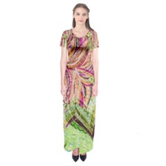 Colorful Design Acrylic Short Sleeve Maxi Dress