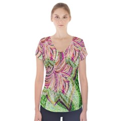 Colorful Design Acrylic Short Sleeve Front Detail Top