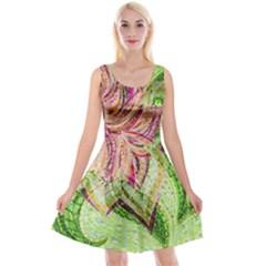 Colorful Design Acrylic Reversible Velvet Sleeveless Dress