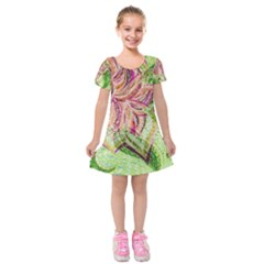 Colorful Design Acrylic Kids  Short Sleeve Velvet Dress