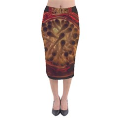 Light Picture Cotton Buds Velvet Midi Pencil Skirt
