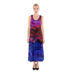 Lights Abstract Curves Long Exposure Sleeveless Maxi Dress