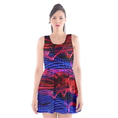 Lights Abstract Curves Long Exposure Scoop Neck Skater Dress