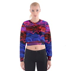 Lights Abstract Curves Long Exposure Women s Cropped Sweatshirt
