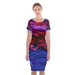 Lights Abstract Curves Long Exposure Classic Short Sleeve Midi Dress