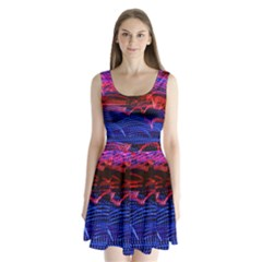 Lights Abstract Curves Long Exposure Split Back Mini Dress