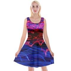 Lights Abstract Curves Long Exposure Reversible Velvet Sleeveless Dress