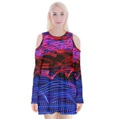 Lights Abstract Curves Long Exposure Velvet Long Sleeve Shoulder Cutout Dress