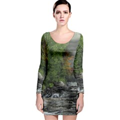 Landscape Summer Fall Colors Mill Long Sleeve Bodycon Dress