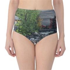 Landscape Summer Fall Colors Mill High Waist Bikini Bottoms