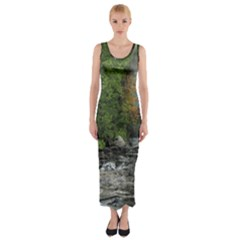 Landscape Summer Fall Colors Mill Fitted Maxi Dress