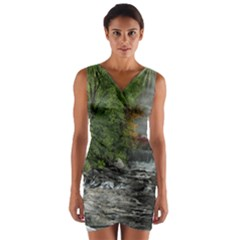 Landscape Summer Fall Colors Mill Wrap Front Bodycon Dress