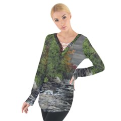 Landscape Summer Fall Colors Mill Women s Tie Up Tee
