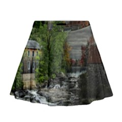 Landscape Summer Fall Colors Mill Mini Flare Skirt