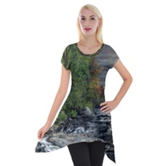 Landscape Summer Fall Colors Mill Short Sleeve Side Drop Tunic