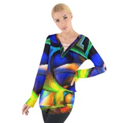 Light Texture Abstract Background Women s Tie Up Tee